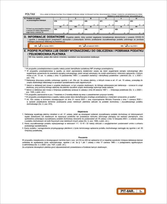 Nowe wzory deklaracji PIT -PIT-8AR